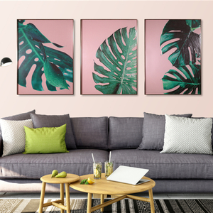 Estilo nórdico 3 piezas H800mm * 600mm Green Leaf Hanging Wall Living Room Glass Painting