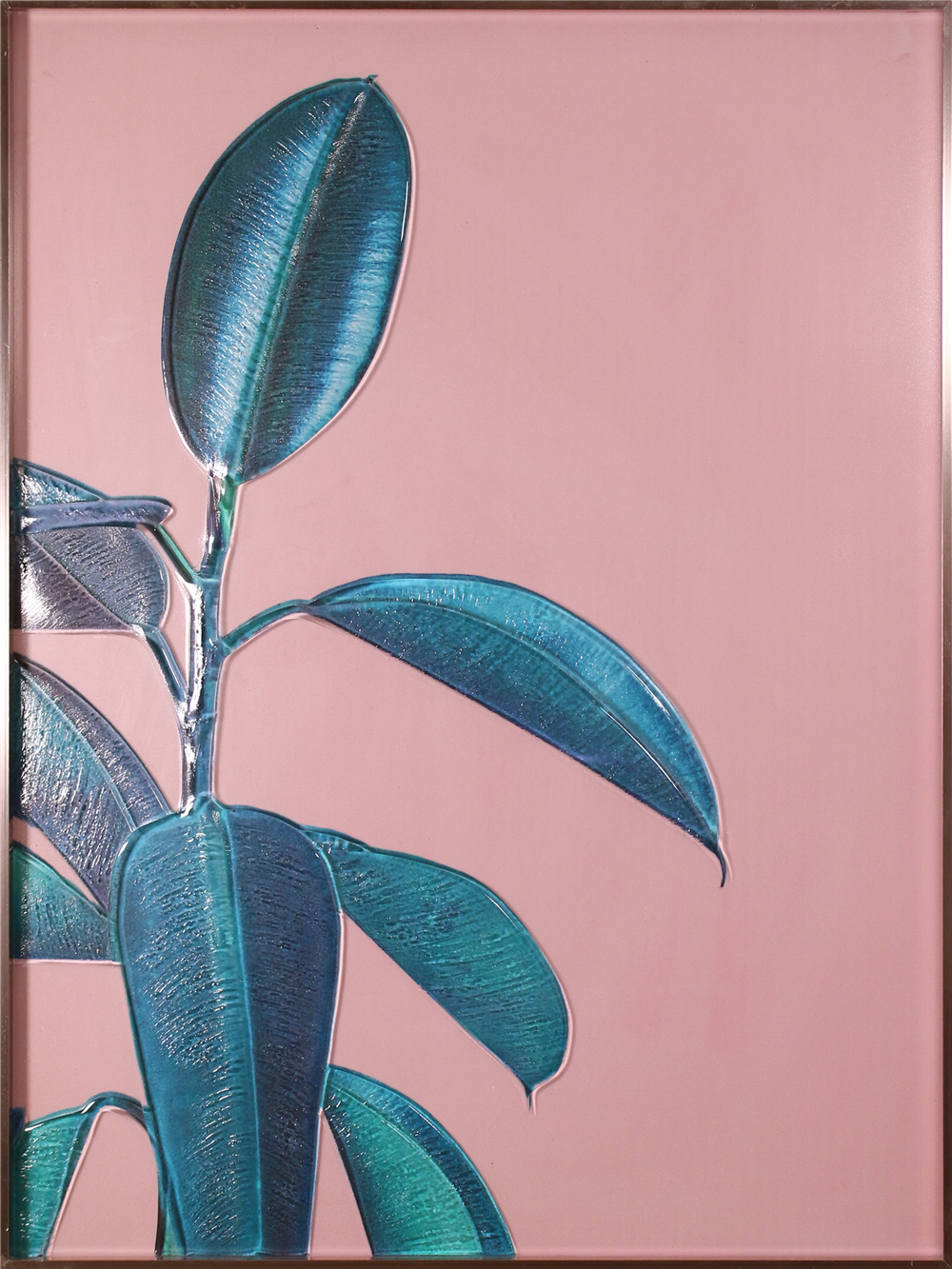 Guangzhou H800mm * 600mm Nordic Wholesale Green Plant Hanging Wall Glass Painting para la decoración del hogar